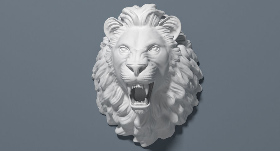 Lion Head Sculpture royalty-free 3d model - Preview no. 15