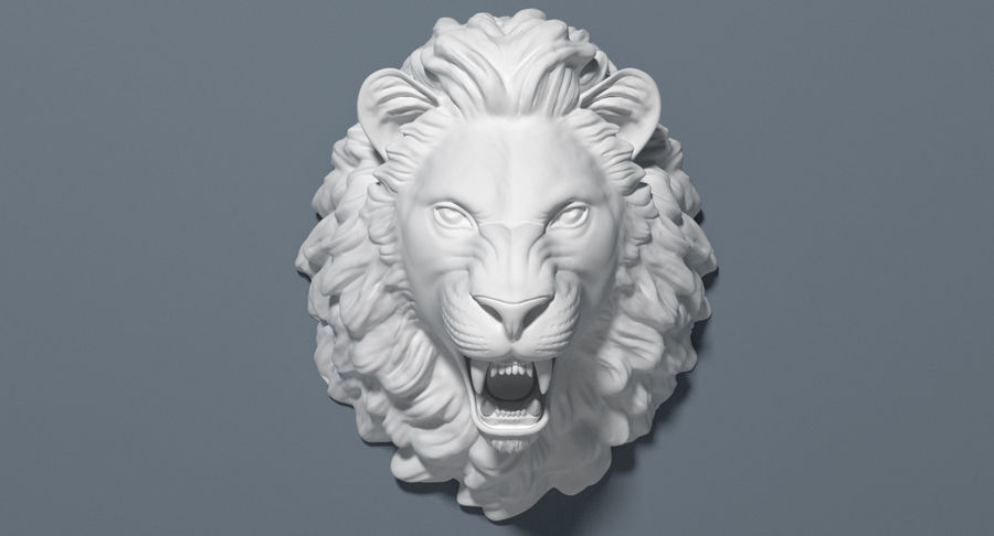Lion Head Sculpture royalty-free 3d model - Preview no. 12