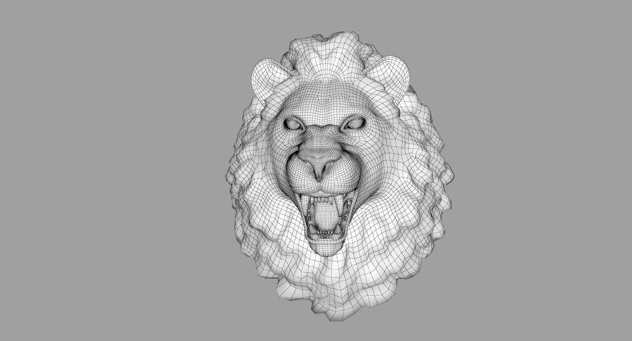 Lion Head Sculpture royalty-free 3d model - Preview no. 33