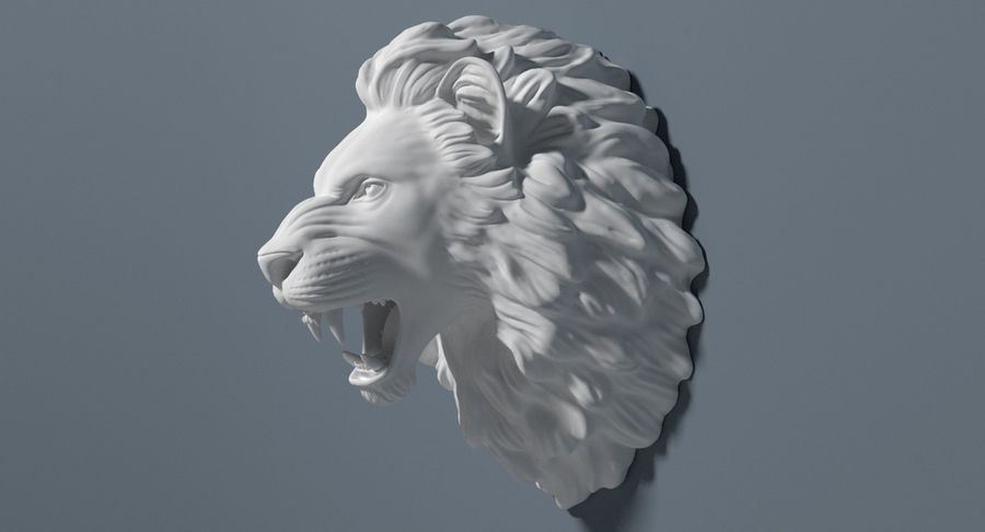 Lion Head Sculpture royalty-free 3d model - Preview no. 8