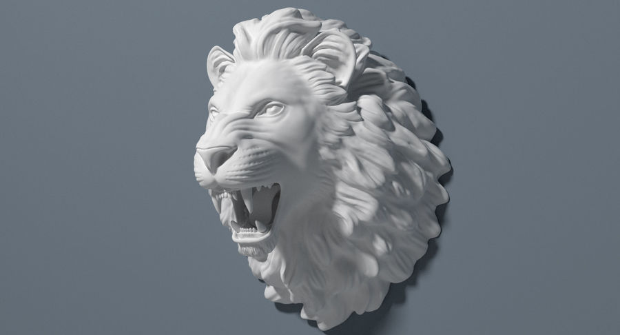 Lion Head Sculpture royalty-free 3d model - Preview no. 14