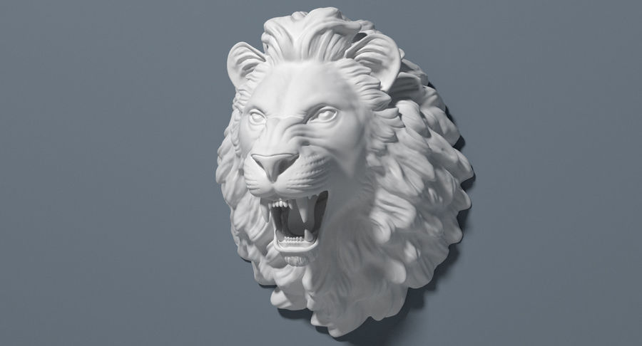 Lion Head Sculpture royalty-free 3d model - Preview no. 5