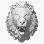 Sculpture tête de lion 3d model