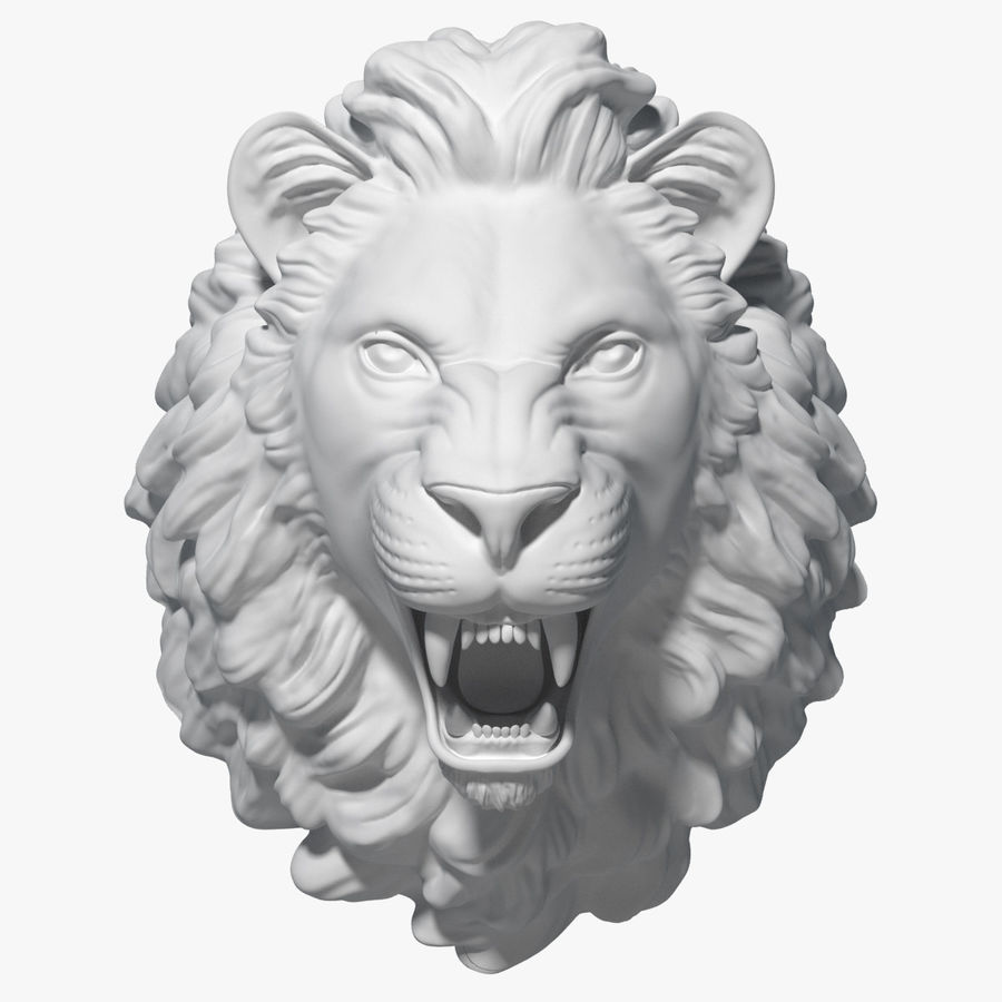 Lion Head Sculpture royalty-free 3d model - Preview no. 1