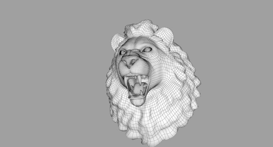 Lion Head Sculpture royalty-free 3d model - Preview no. 28