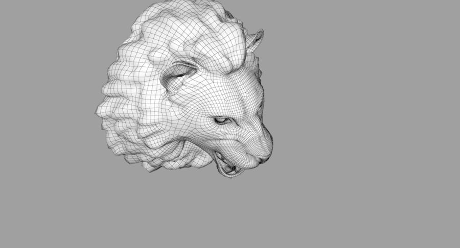 Lion Head Sculpture royalty-free 3d model - Preview no. 31