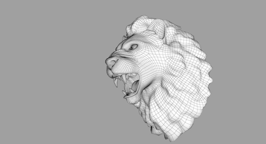 Lion Head Sculpture royalty-free 3d model - Preview no. 29