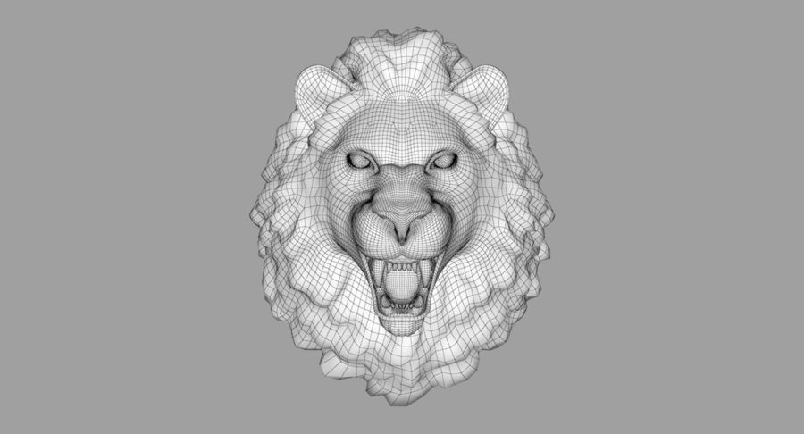Lion Head Sculpture royalty-free 3d model - Preview no. 22