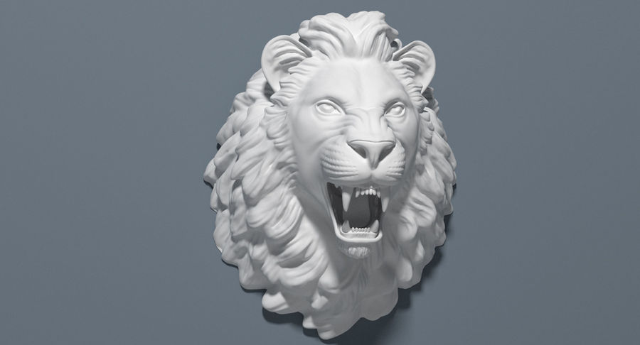 Lion Head Sculpture royalty-free 3d model - Preview no. 16