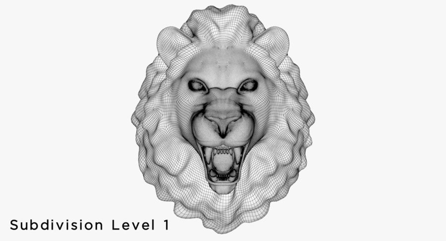 Lion Head Sculpture royalty-free 3d model - Preview no. 20