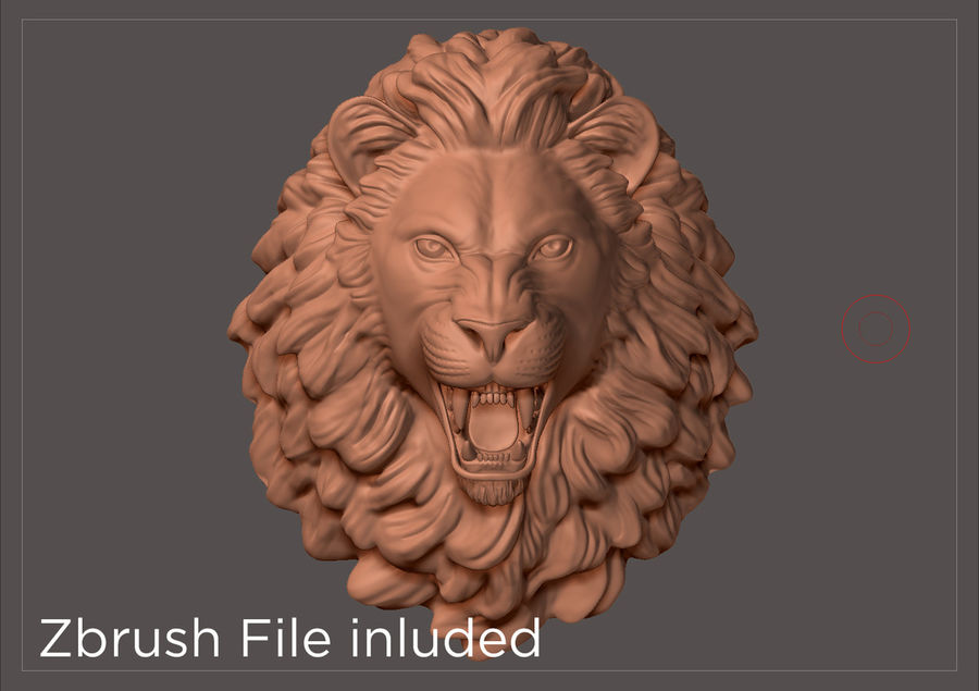 Lion Head Sculpture royalty-free 3d model - Preview no. 4