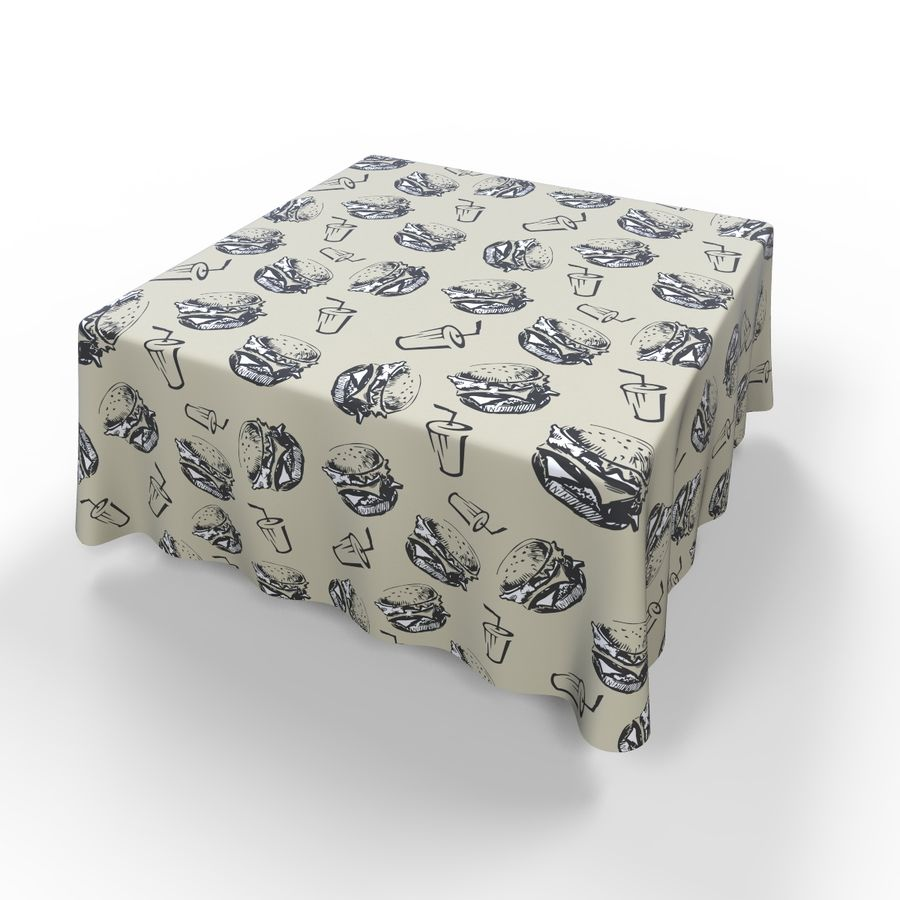 Textured Square Tablecloth royalty-free 3d model - Preview no. 5