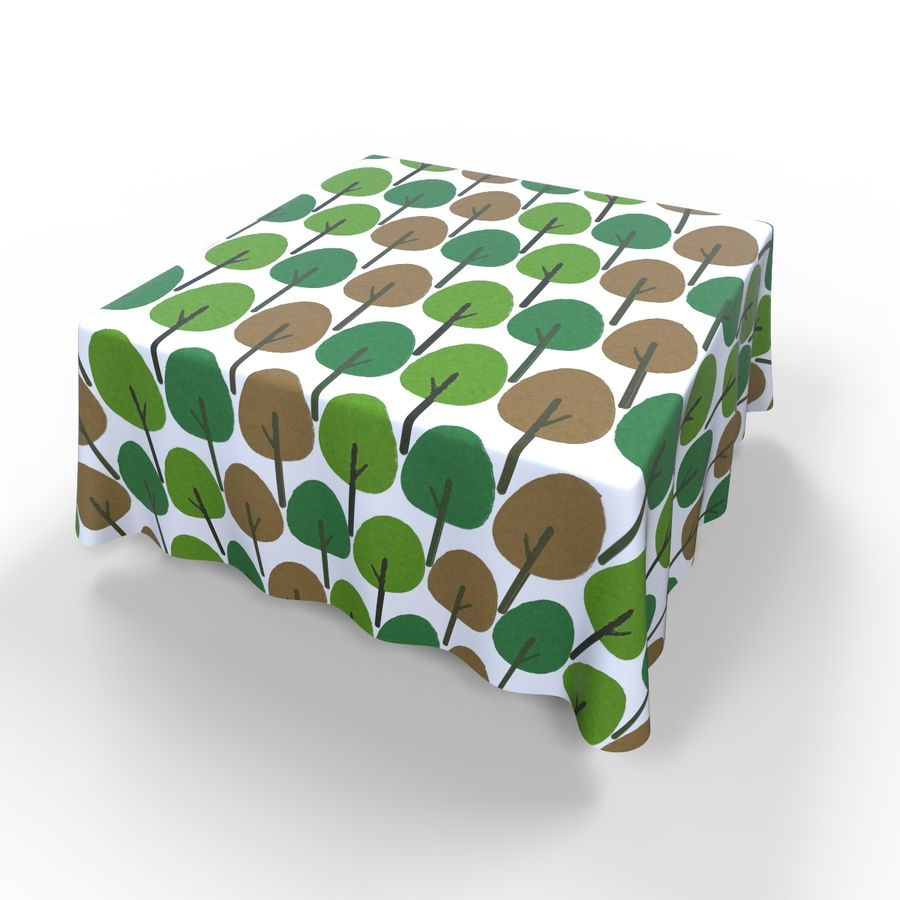 Textured Square Tablecloth royalty-free 3d model - Preview no. 4