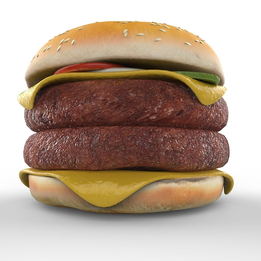Hamburger Double royalty-free 3d model - Preview no. 6