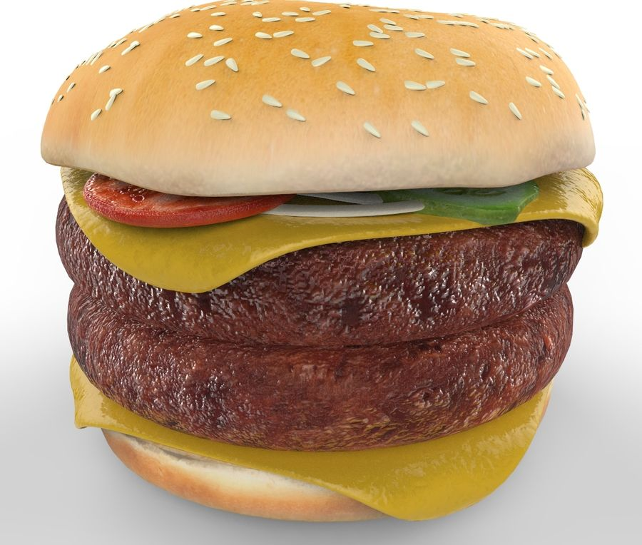 Hamburger Double royalty-free 3d model - Preview no. 1