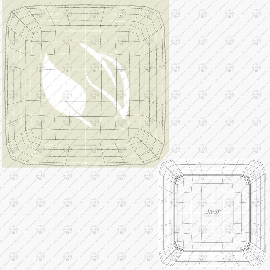 Plate Square V3 royalty-free 3d model - Preview no. 11