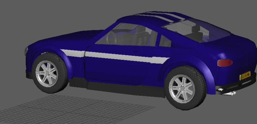 Low Poly Car royalty-free 3d model - Preview no. 4