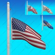USA Flags - Animasyonlu LOOP koleksiyonu 3d model