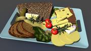 Desayuno comida pan modelo 3d