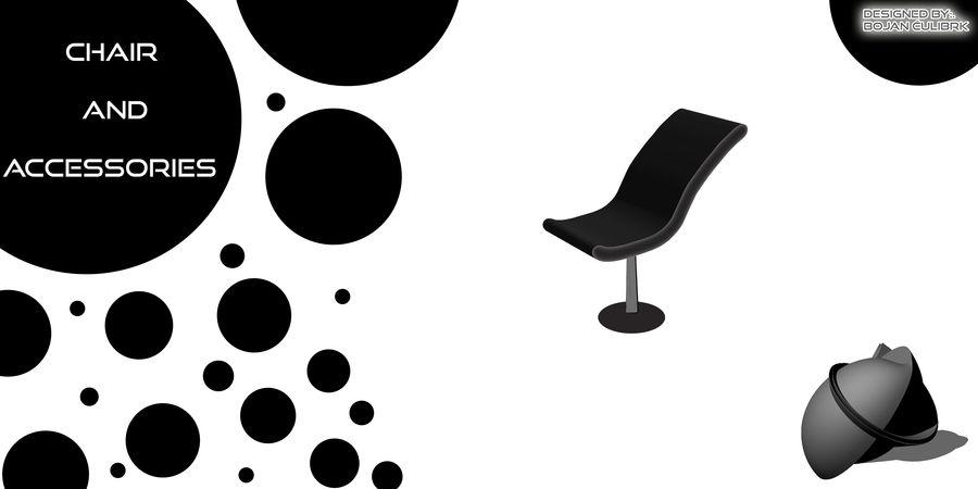 Stuhl + Dekoration royalty-free 3d model - Preview no. 1