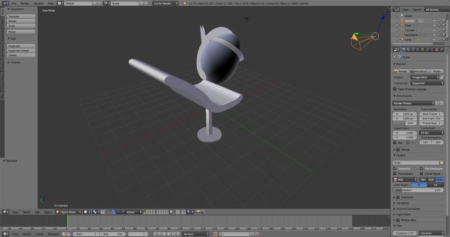 Stuhl + Dekoration royalty-free 3d model - Preview no. 4