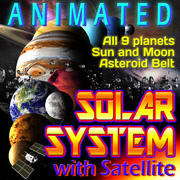 Sonnensystem mit Satellit 3d model