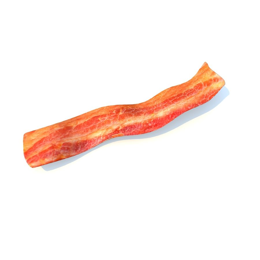 fried bacon (two) royalty-free 3d model - Preview no. 2