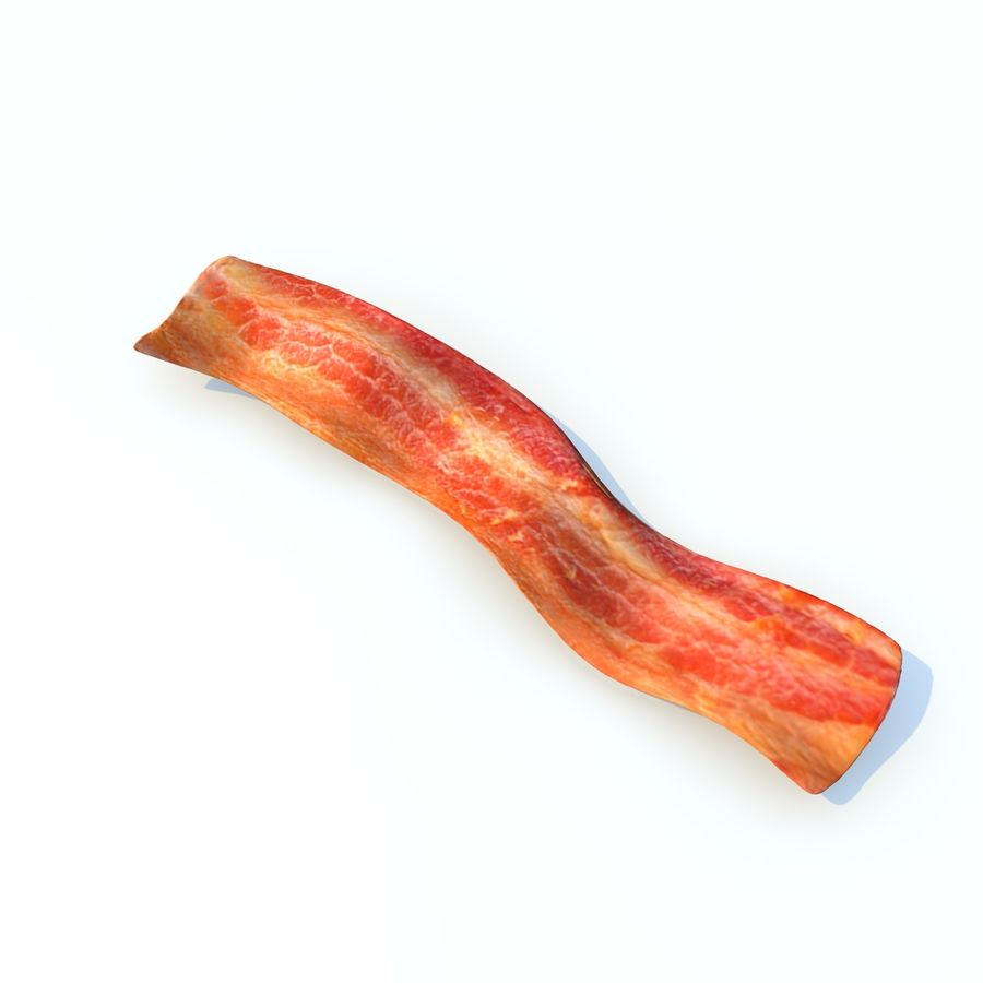 fried bacon (two) royalty-free 3d model - Preview no. 4