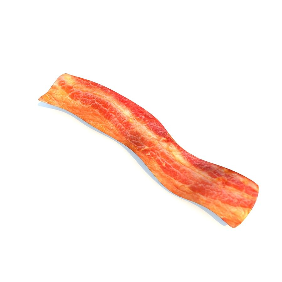 fried bacon (two) royalty-free 3d model - Preview no. 3