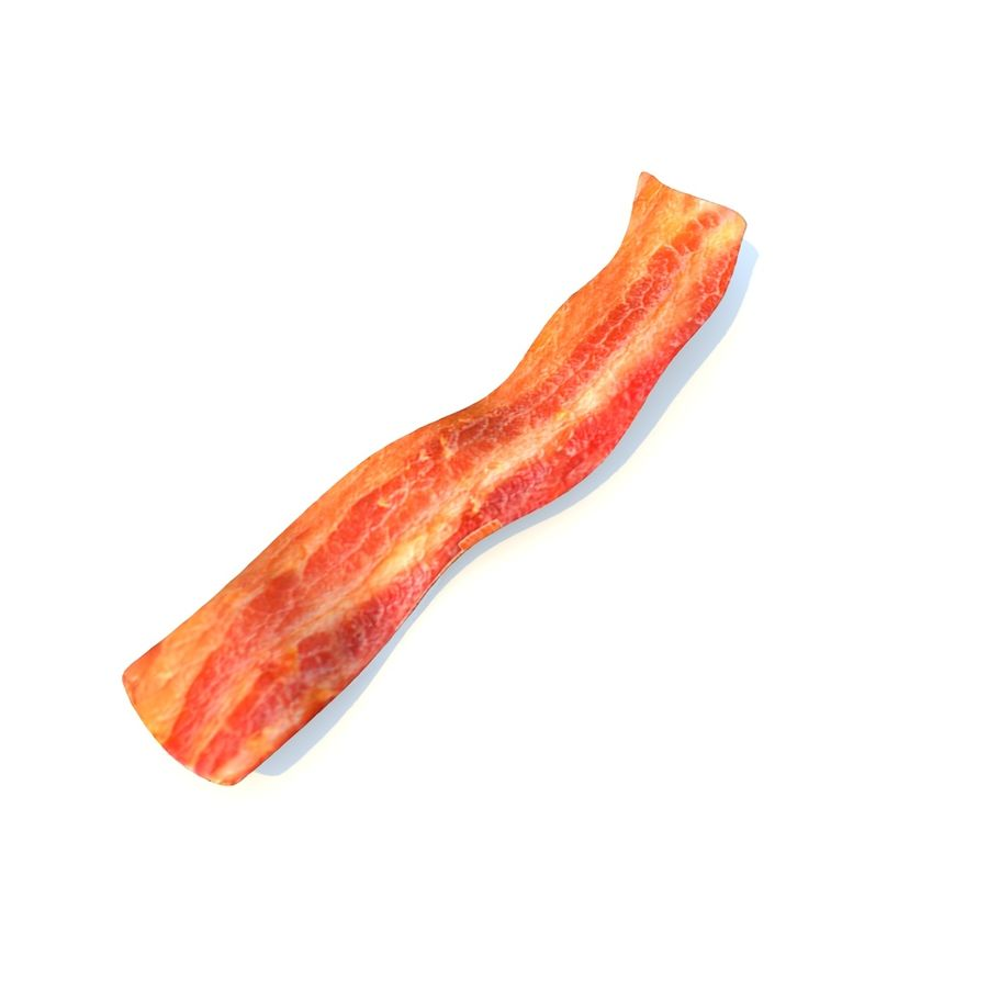 fried bacon (two) royalty-free 3d model - Preview no. 1