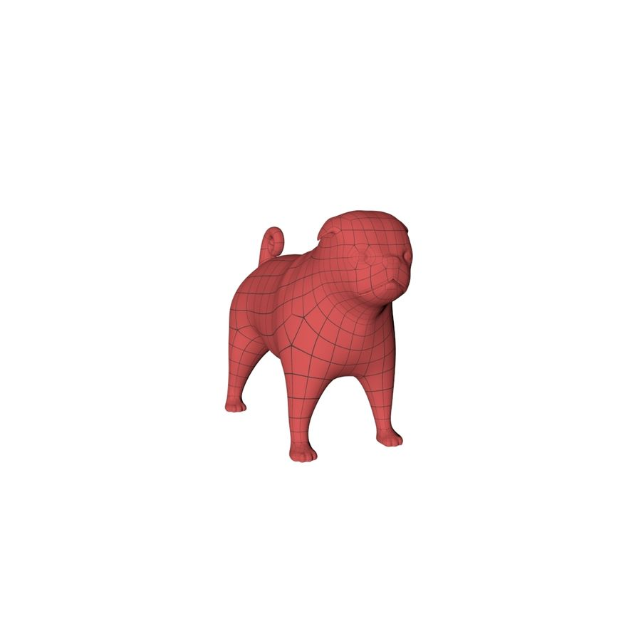 Pug base mesh royalty-free 3d model - Preview no. 3