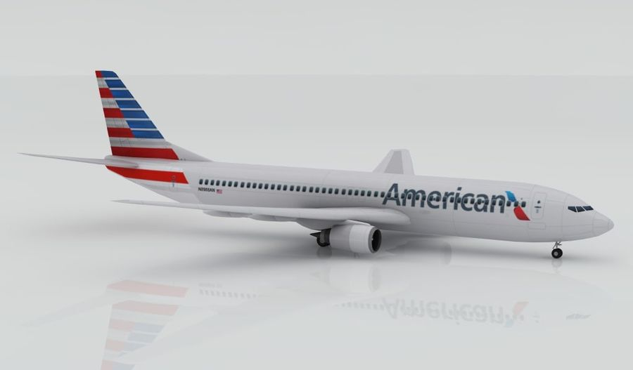 Boeing 737-800 AA royalty-free 3d model - Preview no. 3