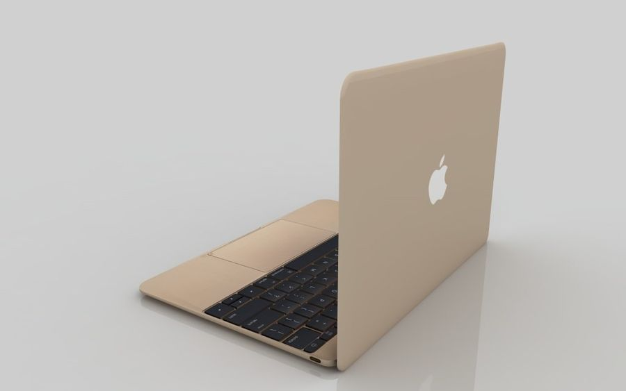 MacBook 2015 GOLD royalty-free 3d model - Preview no. 5