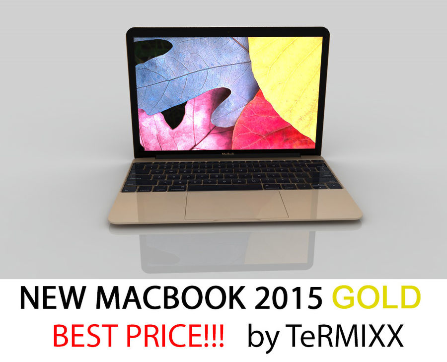MacBook 2015 GOLD royalty-free 3d model - Preview no. 1