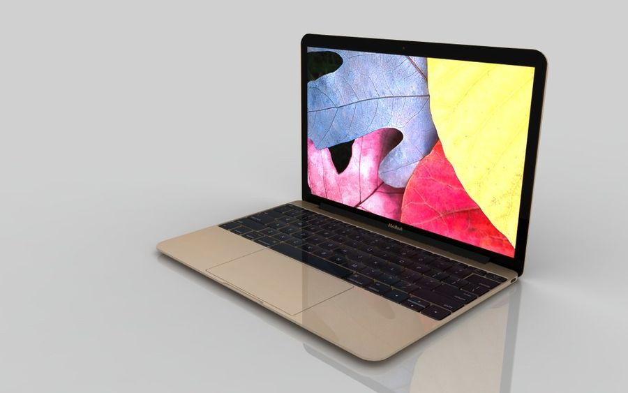 MacBook 2015 GOLD royalty-free 3d model - Preview no. 2