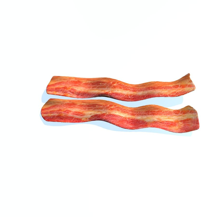 fried bacon set royalty-free 3d model - Preview no. 3