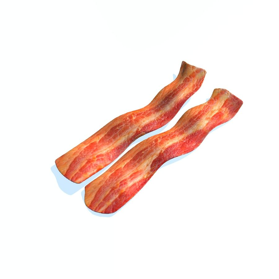 fried bacon set royalty-free 3d model - Preview no. 1