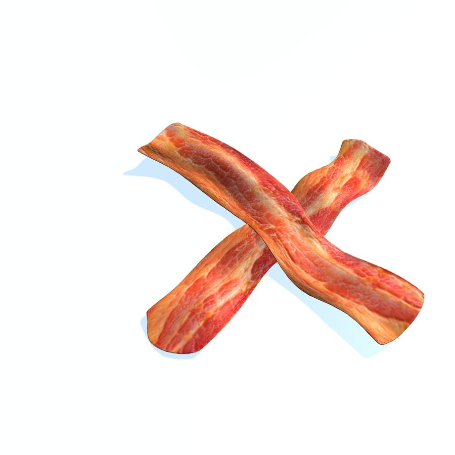 fried bacon set royalty-free 3d model - Preview no. 4