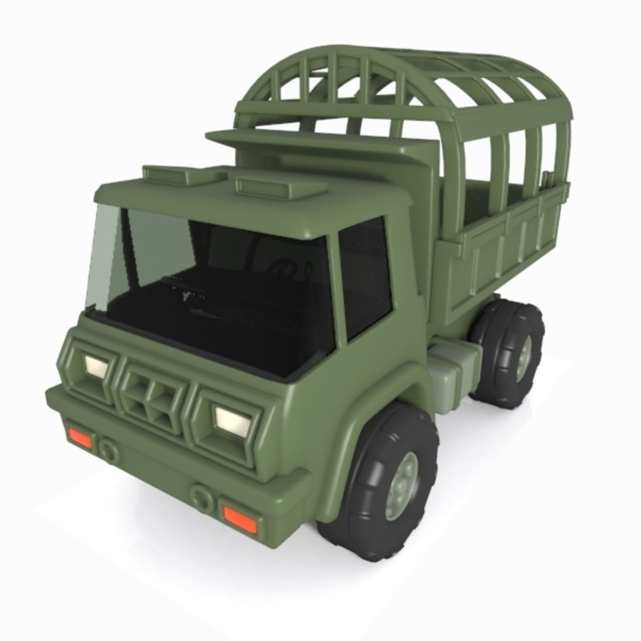 Cartoon Military Truck royalty-free 3d model - Preview no. 8