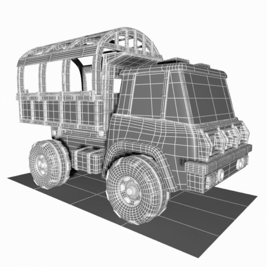 Cartoon Military Truck royalty-free 3d model - Preview no. 17