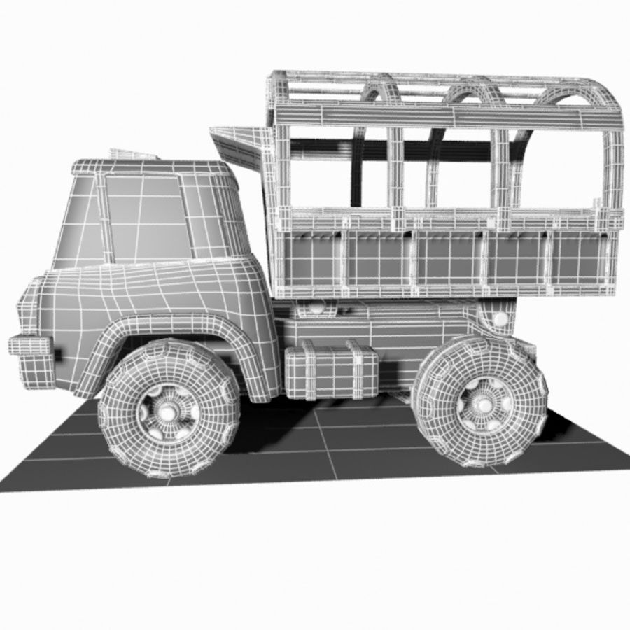 Cartoon Military Truck royalty-free 3d model - Preview no. 16