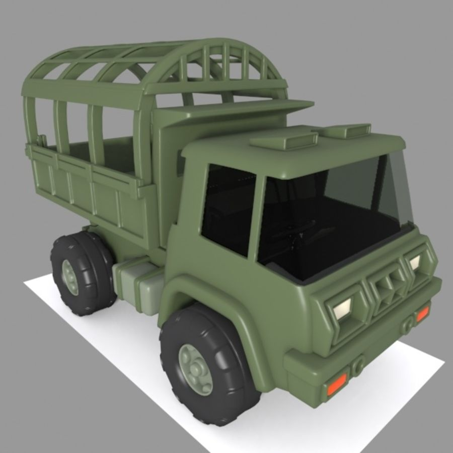 Cartoon Military Truck royalty-free 3d model - Preview no. 2