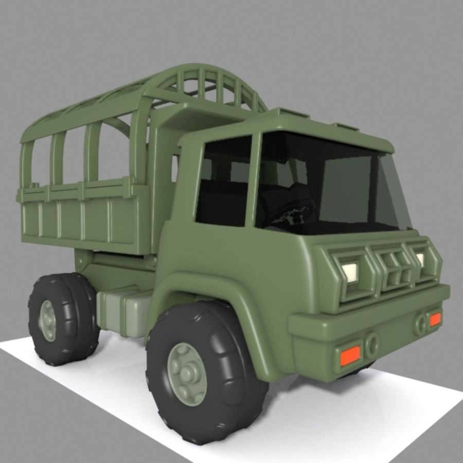 Cartoon Military Truck royalty-free 3d model - Preview no. 6
