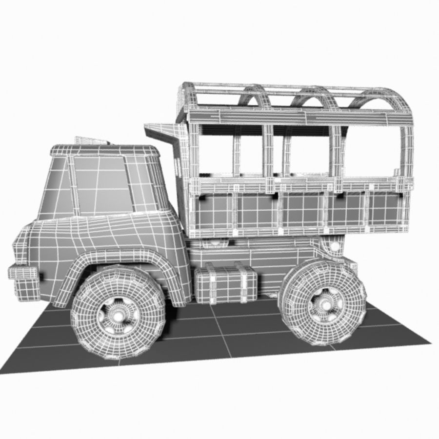 Cartoon Military Truck royalty-free 3d model - Preview no. 20