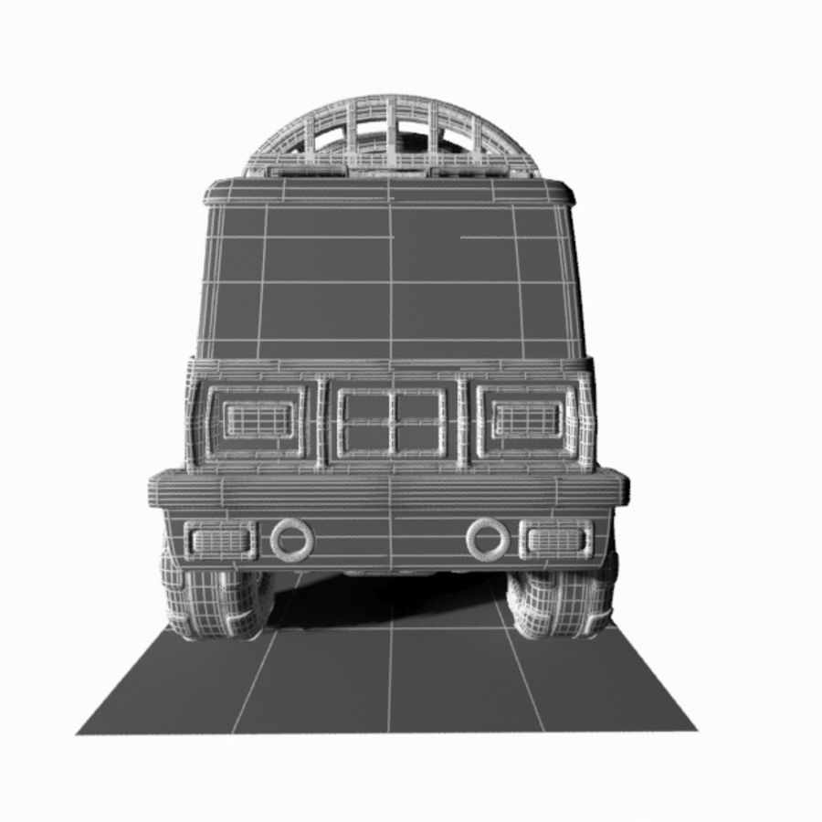 Cartoon Military Truck royalty-free 3d model - Preview no. 18