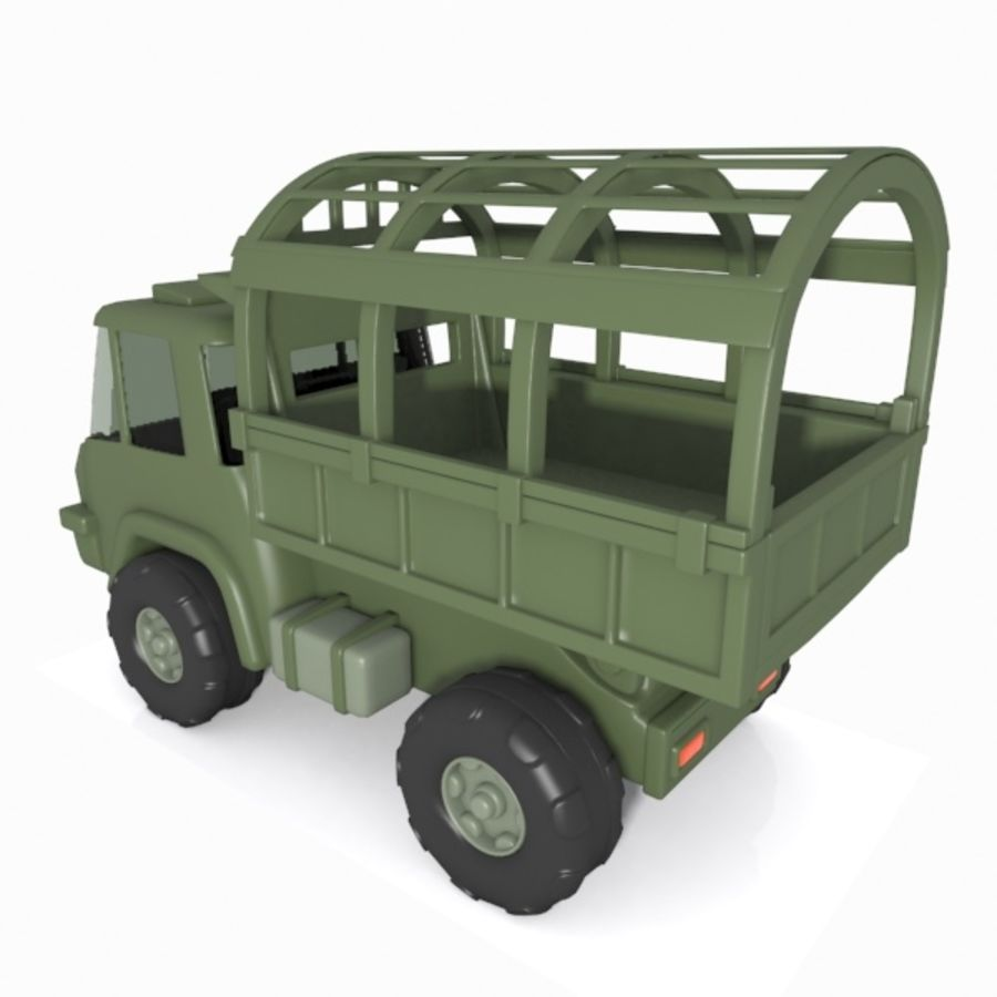 Cartoon Military Truck royalty-free 3d model - Preview no. 11