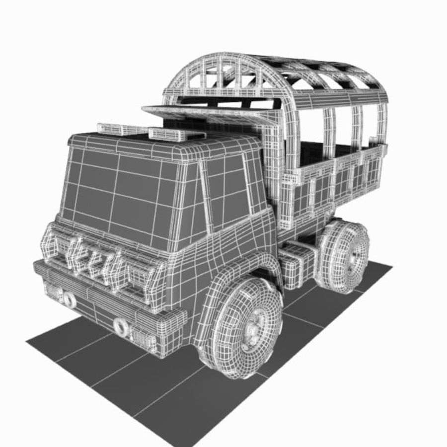 Cartoon Military Truck royalty-free 3d model - Preview no. 15