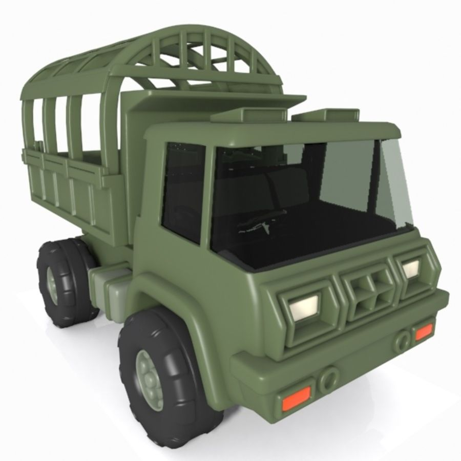 Cartoon Military Truck royalty-free 3d model - Preview no. 3