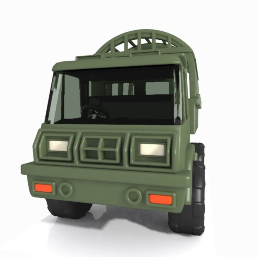 Cartoon Military Truck royalty-free 3d model - Preview no. 10