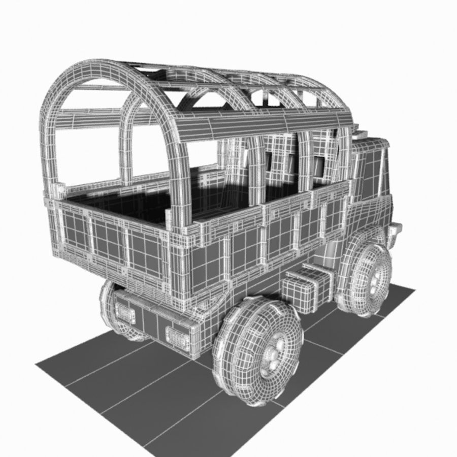 Cartoon Military Truck royalty-free 3d model - Preview no. 19